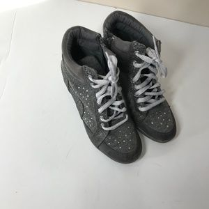 Justice Gray Sparkle Wedge Sneakers Size 4